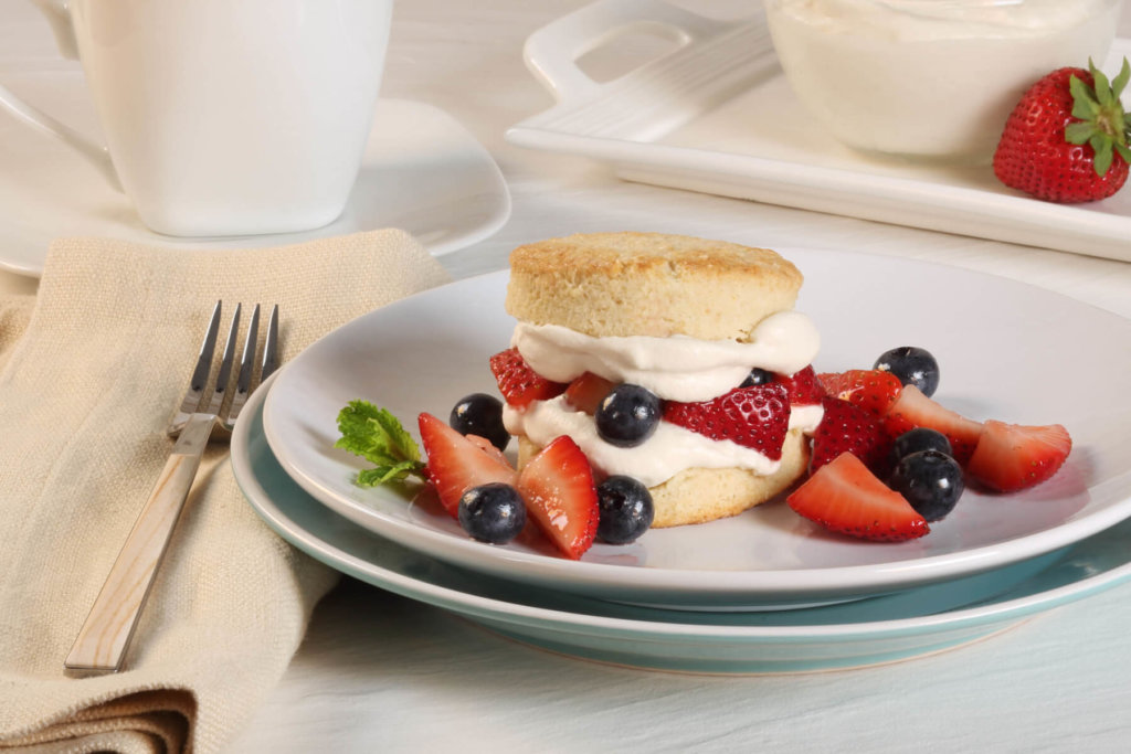 Berry Almond Shortcake with Vanilla-Mascarpone Cream