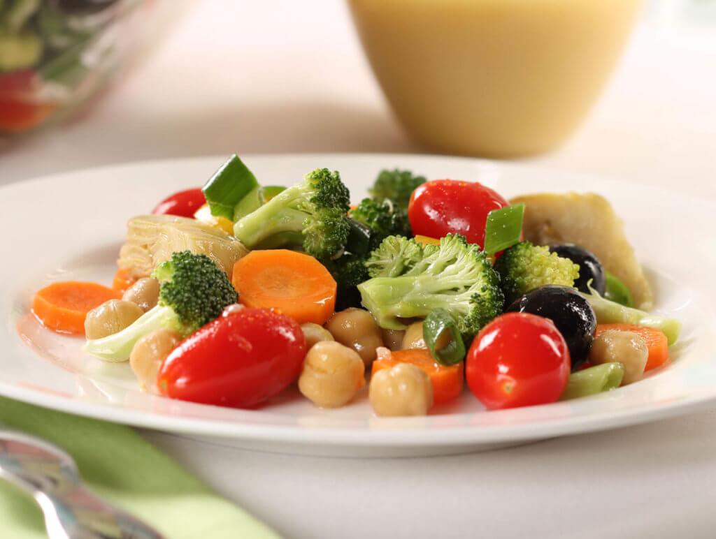 Artichoke Vegetable Salad with Champagne Vanilla Lemon Vinaigrette
