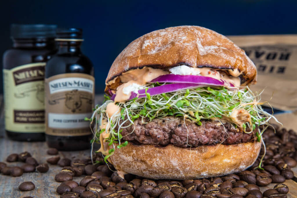 Coffee Crusted Burger with Chipotle Mayo